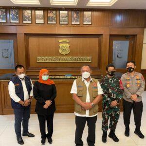 Antisipasi Lonjakan Kasus Covid-19 di Jatim, Forkopimda Gelar Rakor bersama BNPB di Polda Jatim