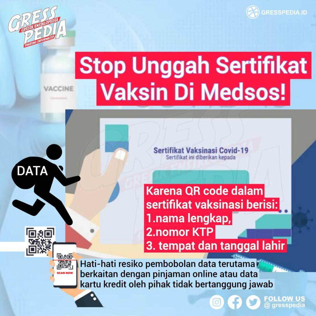Stop Unggah Sertifikat Vaksin Di Medsos!