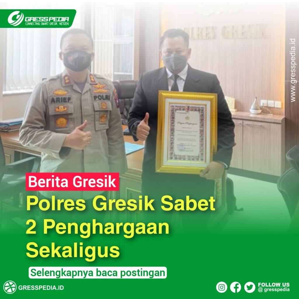 Kapolres Gresik AKBP Arief Fitrianto Piagam penghargaan atas keberhasilannya memperoleh predikat sebagai unit kerja PELAYANAN PRIMA