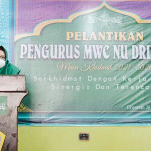 Hadiri Pelantikan MWC NU Driyorejo, Wabup Gresik Bagikan Masker
