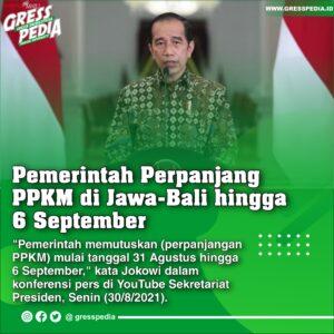 Pemerintah Perpanjang PPKM di Jawa-Bali hingga 6 September