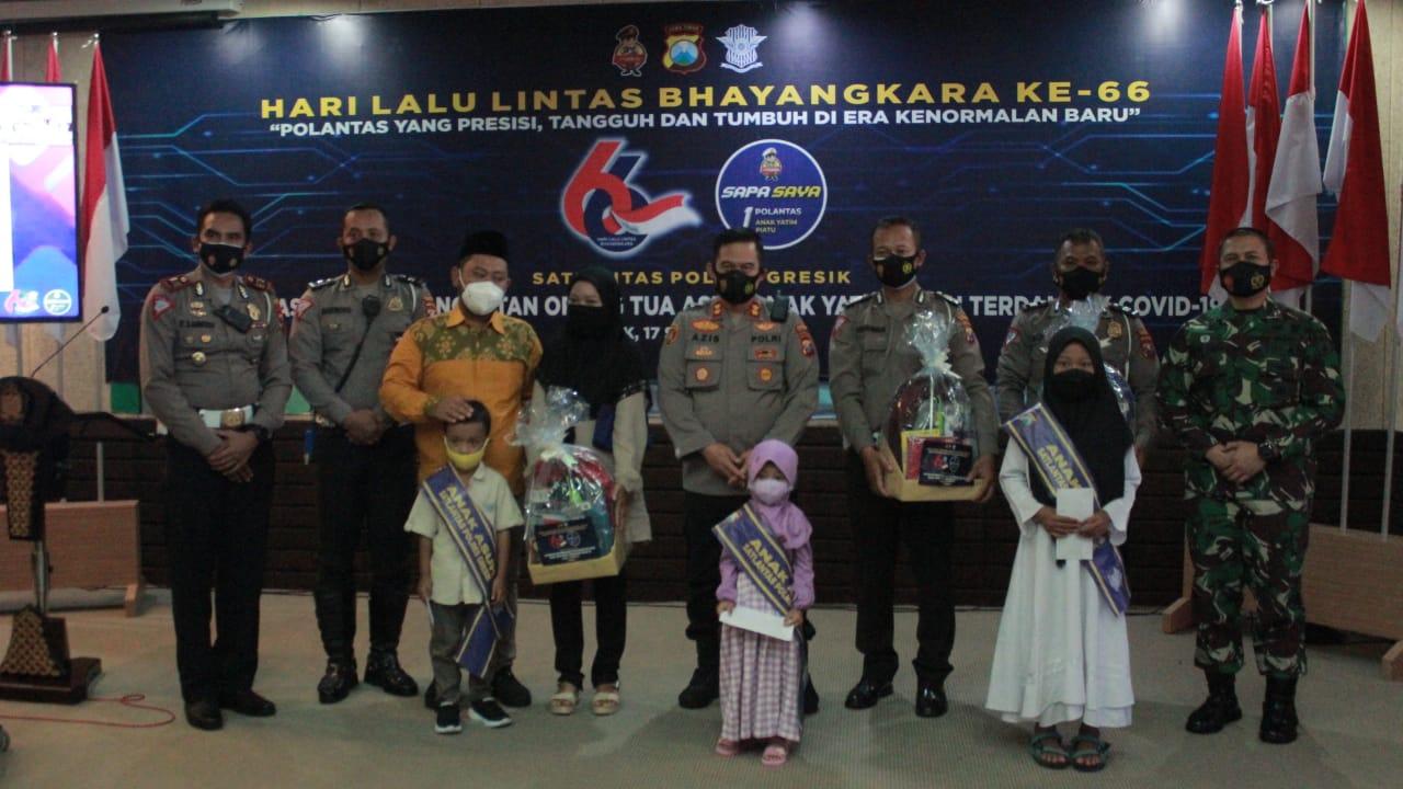 Peringati HUT Lantas, 63 Anggota Polantas Gresik Jadi Ortu Asuh Anak Yatim Covid