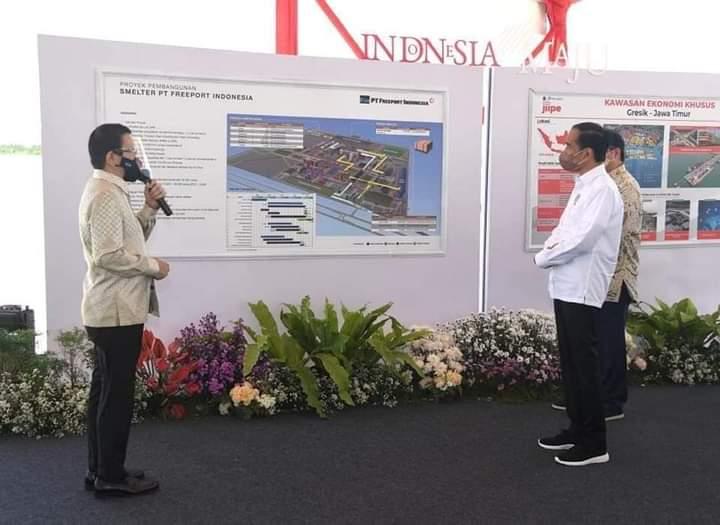 Presiden Jokowi Letakkan Batu Pertama Pembangunan Smelter PT. Freeport di Gresik